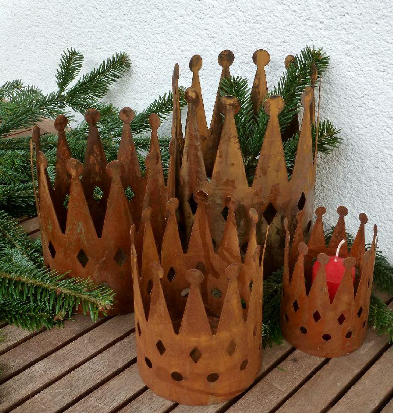 Krone windlicht gartendeko bertopf in 4 gr en dm 10 14 for Gartendeko rost krone