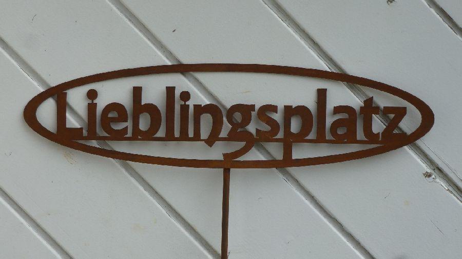 gartenstecker lieblingsplatz pflanzstab stele edelrost dekoration ebay. Black Bedroom Furniture Sets. Home Design Ideas