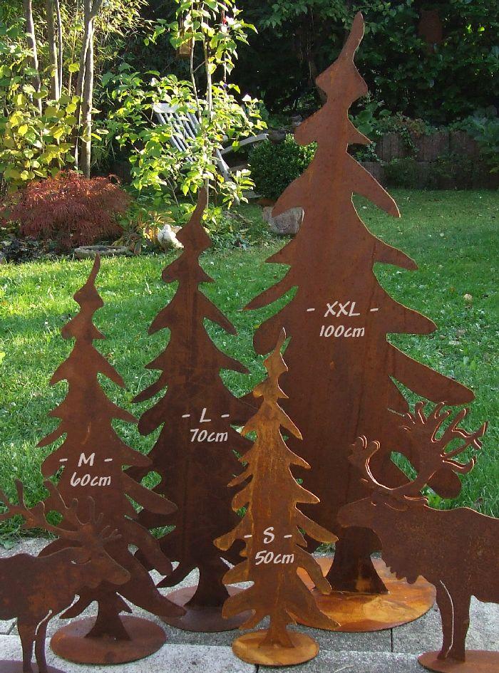 Tannenbaum edelrost h he 50 60 70 100cm for Deko rostfarbe