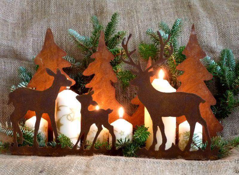 Weihnachtliche waldszene hirsch reh kitz tannenbaum for Tannenbaum kerzenhalter