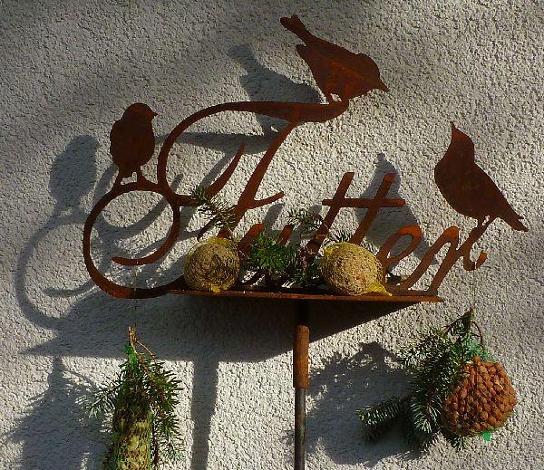 geheimnisvolle EULE Stecker 130cm Stele Dekoration Metall Rostig Herbstdeko